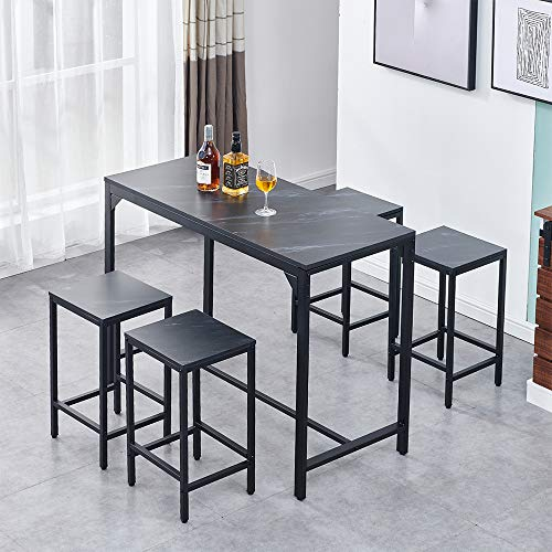 BonChoice 5 Pieces Bar Dining Table and Stool Set 4, Bar Counter Height Dining Table Stool Set, Great for Breakfast Nook, Kitchen Room, Mini Bar Pub or Patio (Black Marble Vein Tabletop)