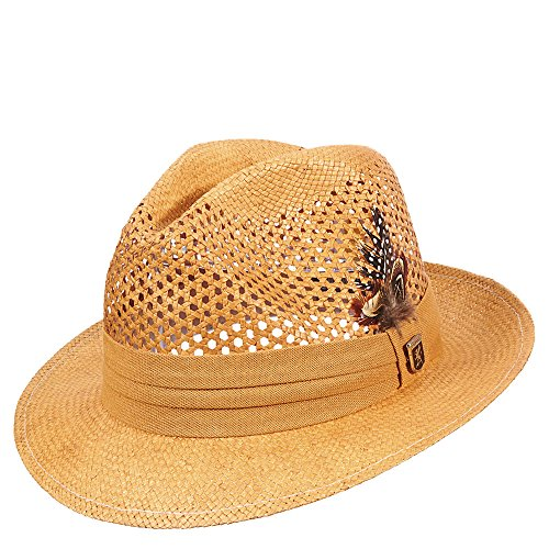 Stacy Adams Men's Pinch Front Vented Toyo Hat M Tan