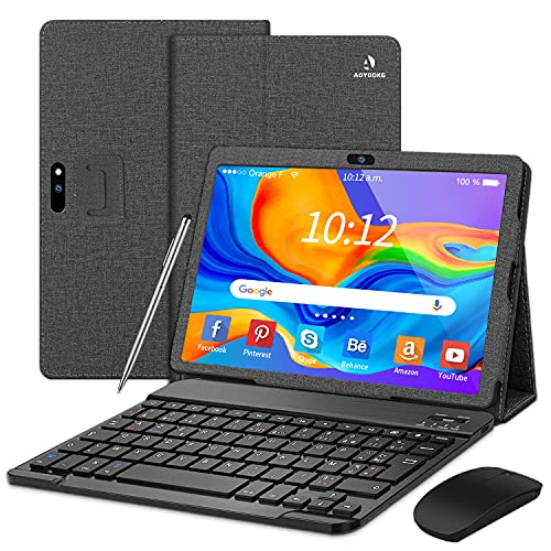 Tablet 10 Pulgadas 4G/WiFi Android 9.0 Pie Ultrar-Rápido Tablets 3GB RAM + 32GB ROM/128GB Escalable | Laptop Convertible de Oficina | Dual SIM -8000mA Bluetooth5.0 GPS Tablet (5+8.0MP Cámara)(Negro)