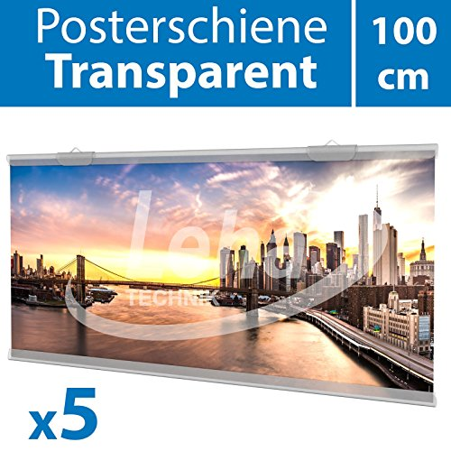 Leha Posterschiene transparent 100cm 5 Satz inklusive Aufhänger