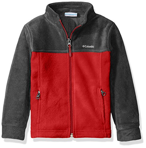 Columbia Little Boys' Toddler Steens MT II Fleece Jacket, Mountain Red/Charcoal Heather, 3T