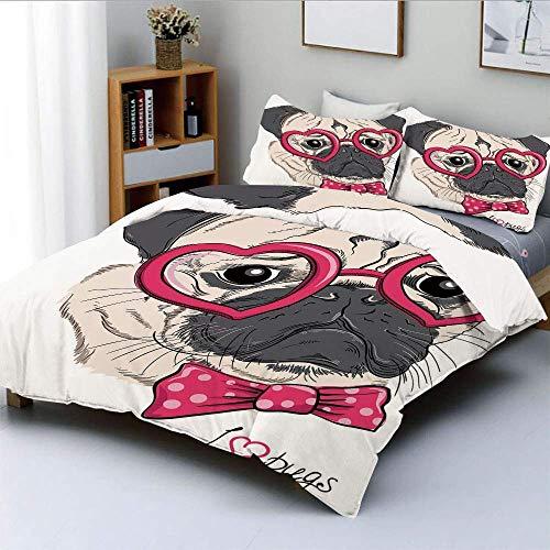 Juego de funda nórdica, perro de moda con gafas en forma de corazón y pajarita punteada I Love Pugs DrawingDecorative Juego de cama de 3 piezas con 2 fundas de almohada, rosa gris blanco, el mejor reg