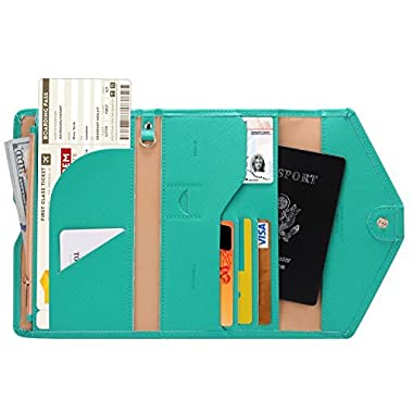 Zoppen Mulit-purpose Rfid Blocking Travel Passport Wallet (Ver.4) Tri-fold Document Organizer Holder, Baby Green