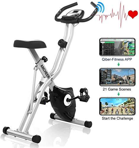 Ancheer Bicicleta Estática Plegable Bicicleta de Ejercicio 10 Niveles de Resistencia Magnética, con App, Soporte para Tableta Capacidad de Peso:120kg Asiento sin Respaldo (Blanco+Gris)