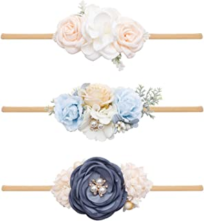 Baby Girl Headbands GULUNONG Hairbands Floral Hair Accessories for Newborn Infant Toddlers Kids Elastics Headband Gift 3pc...
