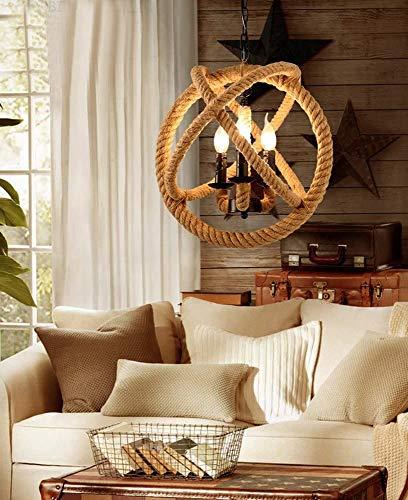 SOWLFE Lámpara de Techo de Cuerda de cáñamo Retro nostálgico Moderna con la Bombilla,Brown
