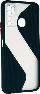 جراب خلفى قوى رفيع بتصميم مموج مع واقى للكاميرا لانفنيكس نوت 7 لايت - اخضر شفاف