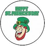 AK Giftshop - Decoración para Tarta de San Patricio, 20 cm, círculo, Leprechaun riendo irlandés, Feliz día de San Patricio