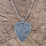 Tree-es-Life Púas de bajo de Guitarra eléctrica de Metal de Acero Inoxidable con Collar Piezas y Accesorios de Guitarra en Forma de corazón Plata
