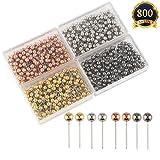 SUBANG 800 Pieces Map Tacks 1/8-Inch Retro Metallic Color Beads Head Marking Push Pins, 4 Colors