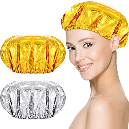16 Pieces Reusable Foil Shower Cap Aluminum Foil Hair Heating Cap Cordless Hair Heat Caps Home and Salon Uses for Deep Conditioning, Gold and Silver