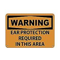 このエリアでは耳の保護が必要です メタルポスタレトロなポスタ安全標識壁パネル ティンサイン注意看板壁掛けプレート警告サイン絵図ショップ食料品ショッピングモールパーキングバークラブカフェレストラントイレ公共の場ギフト
