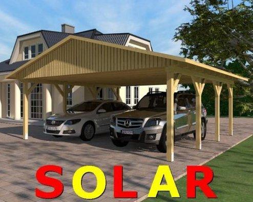 Carport Satteldach SUNSHINE I SOLAR 600x600cm KVH-Holz Satteldachcarport Solarcarport