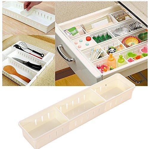 Organizador de cajones, Cajones de almacenamiento de plástico transparente ajustable con 3...