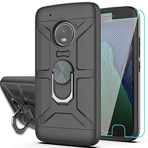 Moto G5 Plus Case,Moto G Plus 5th Case with HD Phone Screen Protector,YmhxcY 360 Degree Rotating Ring & Bracket Dual Layer Resistant Back Cover for Moto X 2017-ZS-Black