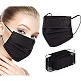 Disposable Face Masks, Black Face Mask, 3 Ply Disposable Mask 100 Pcs