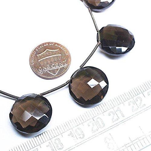 Natural cuarzo ahumado facetado redondo moneda Gemstone sueltos Craft cuentas Strand 7