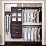 John Louis Home 16in. Deep Woodcrest Deluxe Organizer - 5 Drawers with Doors - 6 & 8in. Deep, Espresso Finish