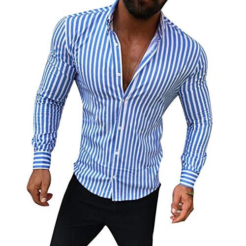 Homme Chemise,Hommes Casual Turn Down Collar Manches Longues Rayures Verticales Slim Button Shirt Mode Col En V Formelle Robe D'Affaires Bleu Hauts De Travail Surdimensionnés Gents Vêtements Loisir