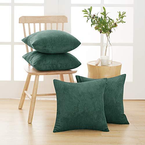Deconovo Funda para cojin Prodector del Mueble 4 Piezas 40x40cm Verde