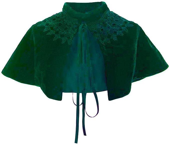 Victorian Capelet, Cape, Cloak, Shawl, Muff COUCOU Age Velvet Cape Short Lace Shawl Lolita Cloak for Women Girls Dress  AT vintagedancer.com