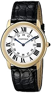 Cartier Men's W6700455 Ronde Black Leather Roman Numeral Watch