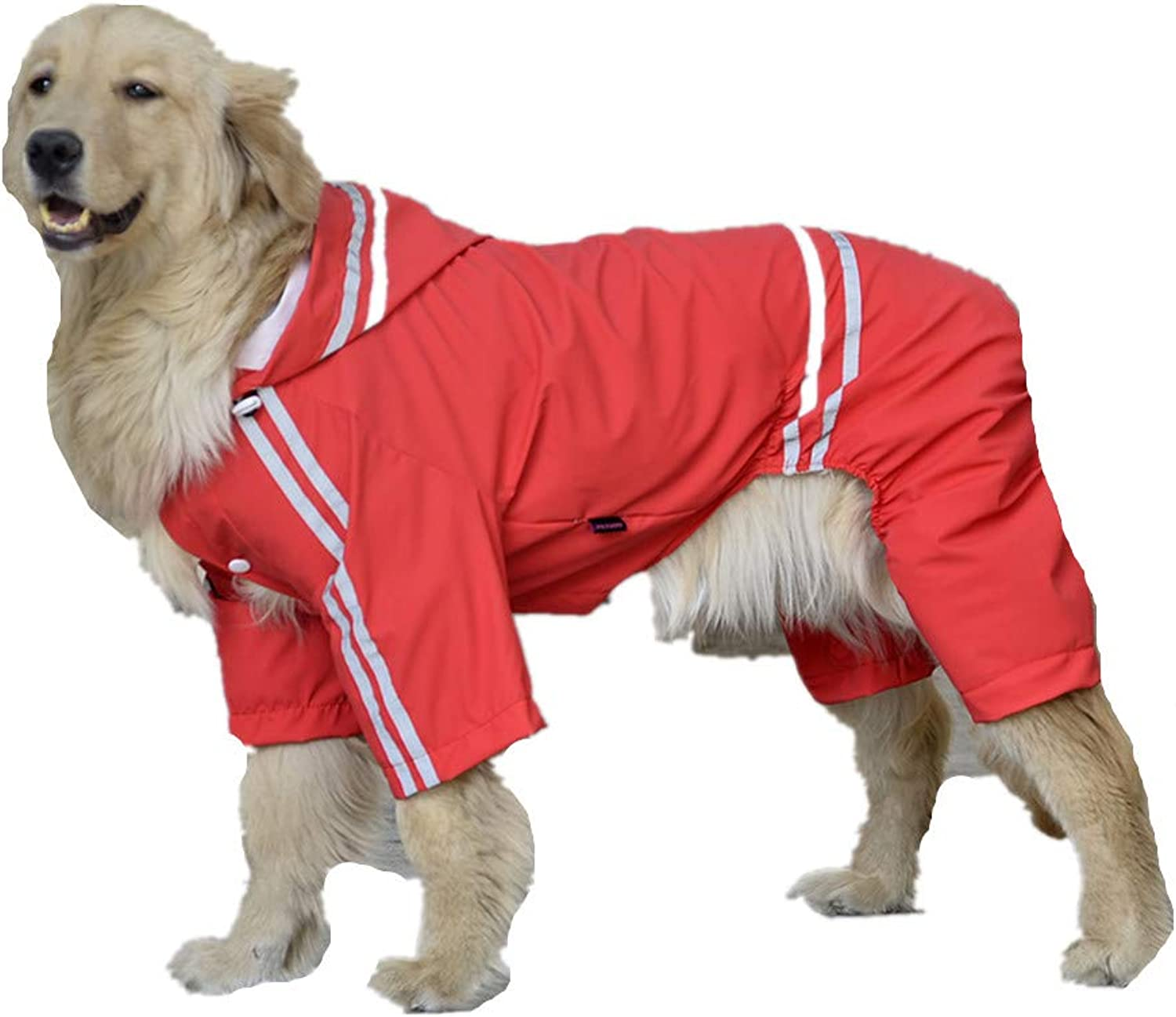 Pet Dog Raincoat Collar Hole Waterproof Hooded Coat Reflective Striped Jacket Suitable for Small, Medium and Large Dogs Red
