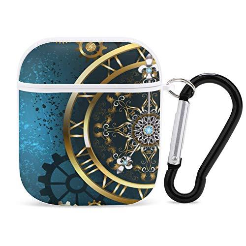 Relojes Vintage Steampunk Reloj Dorado Antiguo Funda Linda para AirPods, Funda Protectora Dura a Prueba de Golpes y antirrayas Compatible con AirPods 1st / 2nd con Llavero Blanco