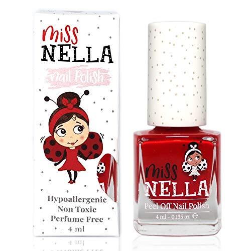Miss Nella STRAWBERRY 'N' CREAM- abziehbarer Nagellack speziell für Kinder, rot, Peel-Off-Formel, ungiftig, wasserbasiert und geruchsneutral