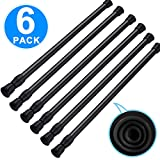 SIQUK 6 Pack Cupboard Bars Adjustable Spring Tension Rods Black Refrigerator Bar Extendable Rod for DIY Projects, 15.7 to 28 Inches