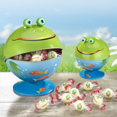 Metallene Frosch-Bonboniere (Höhe ca. 16 cm, Ø 14 cm, 225g) Gefüllt ist das Maul des Frosches mit unseren erfrischend, prickelnden Napoleon-Zitronen-Bonbons