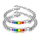 Keybella - Pulseras de acero inoxidable para parejas, para él y ella, con circonitas, negro y oro rosa, para San Valentín o Navidad Arco iris