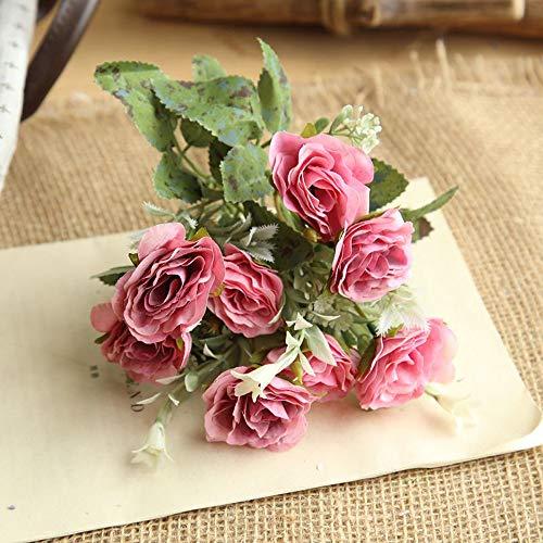 OHQ-Fausse Fleur Decoration Rose Sauvage Bouquet Artificielle Exterieur Exotique Fleuriste Funeraire Guirlande Geante Grande Tige Gypsophile Hibiscus (D, 1PCS)