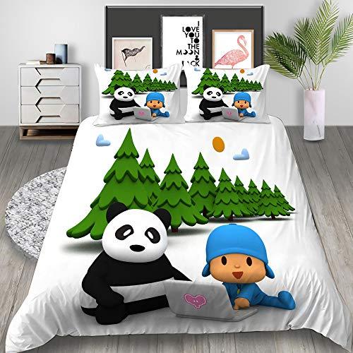MXPL Funda de edredón para niños, individual, impresión 3D, POCOYO, con cremallera, funda nórdica de 135 x 200 cm + 2 fundas de almohada de 50 x 75 cm