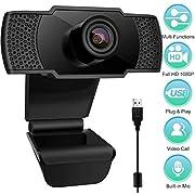 Webcam con Microfono, 1080P FHD PC Webcam videocamera PC Desktop USB 2.0 per videochiamate, Studio, conferenza, Registrazione, Gioco con Clip Girevole