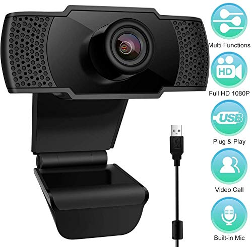 Webcam con Microfono, 1080P FHD PC Webcam videocamera PC Desktop USB 2.0 per videochiamate, Studio, conferenza, Registrazione, Gioco con Clip Girevole