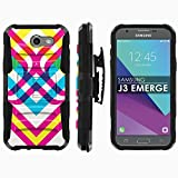 Samsung Galaxy J3 Emerge [2017] Phone Cover [Mobiflare] [Black/Black] Dual Hybrid Armor Phone Case [Screen Protector Included] - [Color Cross]