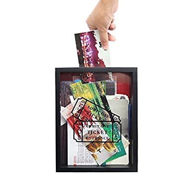 MAGGIFT Wooden Stub Shadow Box Tickets, Ticket Memory Box (Black)