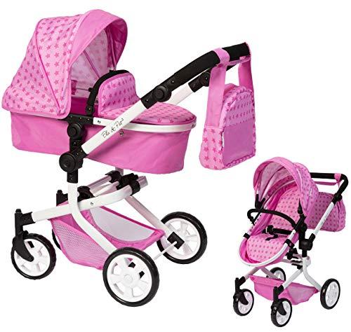 Ella & Piet Cochecito de muñecas MOOVE4 con bolso cambiador 2 en 1 (estrella), color rosa
