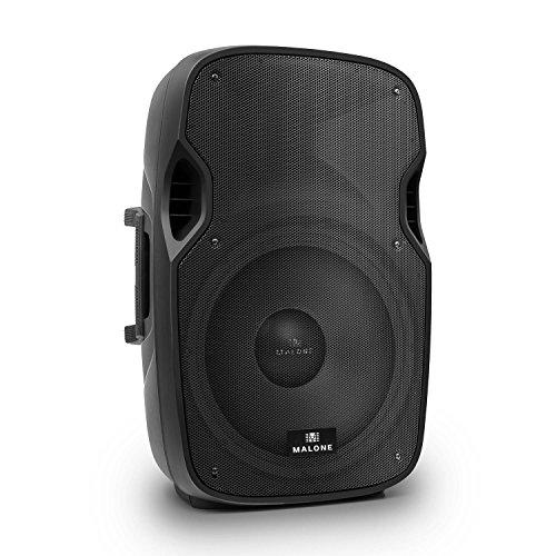 """Malone PW-2915A - PA Lautsprecher, Aktiv-Lautsprecher, PA-Aktiv-Box, 38,10cm (15""""), max. 800 Watt, max. 4 Ohm, 98 dB, Echo regelbar, mobile Box, 40Hz - 20kHz, Indoor- und Outdoor, schwarz"""