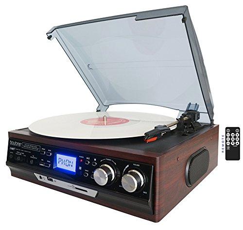 Boytone BT-17DJM 3-speed Stereo Turntable, 2 Built in Speakers Digital LCD Display AM/FM Radio, USB/SD Slot, AUX+ MP3 & WMA Playback /Recorder & Headphone Jack + Remote Control