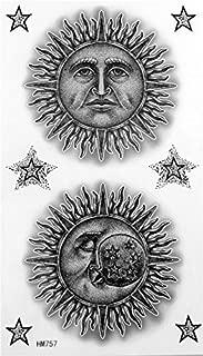 Black and white Cartoon sun man and moon man with stars temporary tattoos