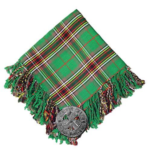 Scottish Traditional 16Oz Acrylic Wool Tartan Flyplaid 48'' By 48'' + Brooch - Available In Many Tartans (Tara Murphy Ancient)