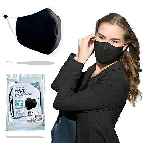 Leo Mancini Mascarilla Negra Lavable Transpirable Tela Mascara para Protección Higienicas Mascarillas Reutilizables Deportiva Excelente Apariencia Adjustables (Negro)