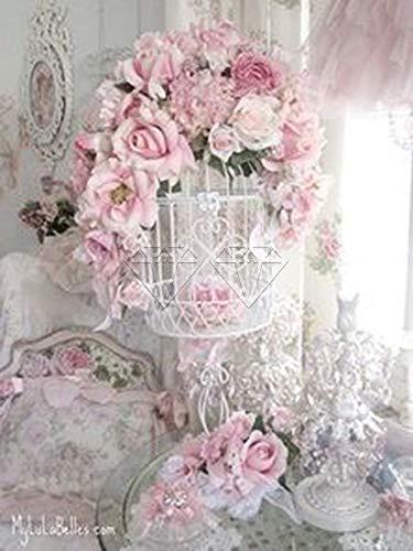 5D DIY Diamante Pintura Paisaje Flor Coche Torre Eiffel Completo Cuadrado y Redondo Bordado Mosaico Punto de Cruz Pintura decoración del hogar (Cuadrado 40x50 cm)