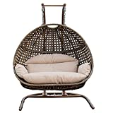 Hanging Egg Chair with Stand, 2 Person Heavy Duty Hanging Wicker Rattan Swing Chair Basket Hammock Nest Seat with Cushion for Indoor Outdoor Patio Lounger Perfect for Balcony Garden Decoration (Beige)