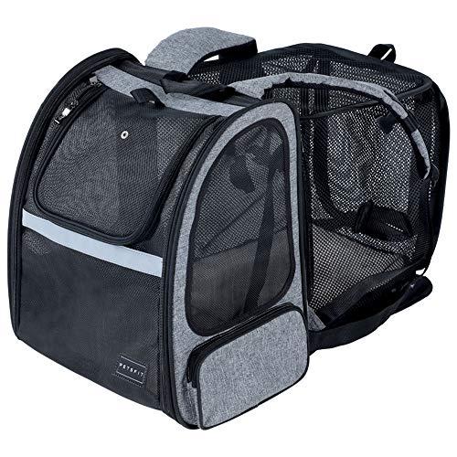 Petsfit Haustier Rucksack für Hunde Katzen, Erweiterbare Hunderucksack Katzenrucksack Faltbarer Transporttasche Tragetasche mit internem Sicherheitsgur