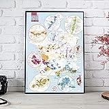 Mapa de los vinos de Francia AOC/AOP 'Geografía' brillante 70 x 100