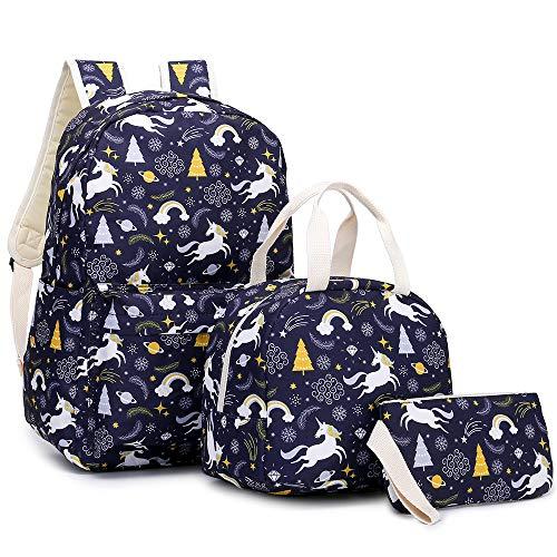 YIMENLR Kids School Bag with Lunch Box Girls, Unicorn Student Backpack Children Meal Bag Pen Bag Set Black