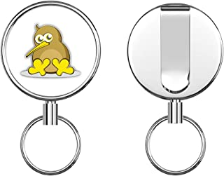Kiwi Bird Cartoon Round ID Badge Key Card Tag Holder Badge Retractable Metal Reel Badge and Key Holder with Belt Clip